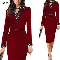 Price: $38.27 | Product: One-Piece Polka Dot V-neck Long Elegant Lady Pencil Business Dress Suit | Visit our online store https://ladiesgents.ca