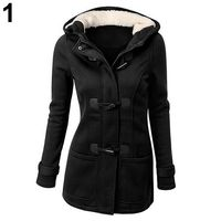 Women Fashion Winter Jacket Coat Parka Horn Buttons Casual Thick Hooded Outwear $33.33