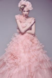 Layered Fancy Pink Vintage Ball Gown Organza Wedding Dress by ShopSimple