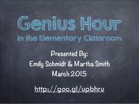 Genius Hour in the Elementary Education Classroom... I like this name instead of our Creative Learning title :->