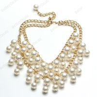 Fashion Gold Cream Pearl 2 Cupcake Girl's Inspired Pearl Pendant Chain Necklace