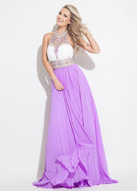 Lovely Ruched Beaded Illusion Halter Neck White Lilac Evening Gown