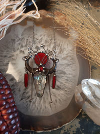 Clear glass Bull Necklace, Red stain glass Pendant, Fairytale Gifts $73.00