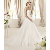 Elegant A-line Strapless Beading Sweep/Brush Train Tulle Wedding Dresses - Dressesular.com