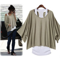 Casual Loose Fitting Batwing Sleeve Solid Color Shirt with Vest Set