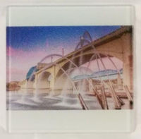 4x4 Glass Tile Chattanooga Bridge Next to The Tennessee River Home Decor Decoration Art Accent Gifts for Him Gifts for Her $15.99