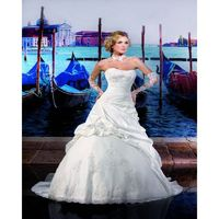 Honorable A-line Strapless Beading Lace Sweep/Brush Train Taffeta Wedding Dresses - Dressesular.com