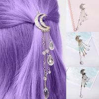 Gift For Women Retro Moon Rhinestone Tassel Beads Dangle Hairpin Hair Clip Women Bridal Jewelry $7.00