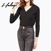 Vogue Simple V-neck Pocket Accessories Wave One Color Fall Sweater - Bonny YZOZO Boutique Store