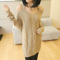 THICKEN STRAPLESS CROCHET FASHION SEXY SWEATER PULLOVER