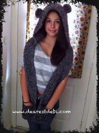 This Snow Bear Hooded Scarf is an adorable crochet scarf pattern for any adult or teenager. The scarf can be worn around the neck while the bear design can be w