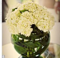 Simple yet elegant centerpieces played up the garden theme at Wendy and Brian�€˜s reception. Urns of ivory and green hydrangeas stood at the center of each table.