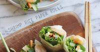 Shrimp Rice Paper Rolls - a fresh and versatile appetizer or side, or a light lunch. A fun party recipe because everyone can make their own! | brunchwithjoy.com for cupcakesandkalechips.com | gluten free, dairy free recipe