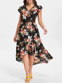 Floral Print Back Cut Out High Low Dress $37.99